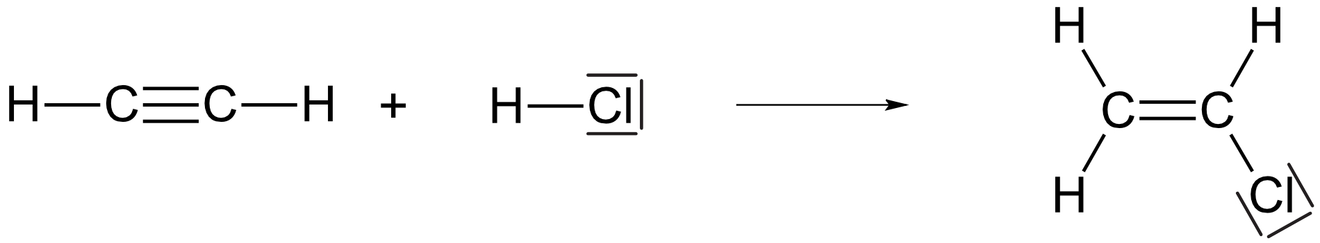 Addition von Chlorwasserstoff an Ethin